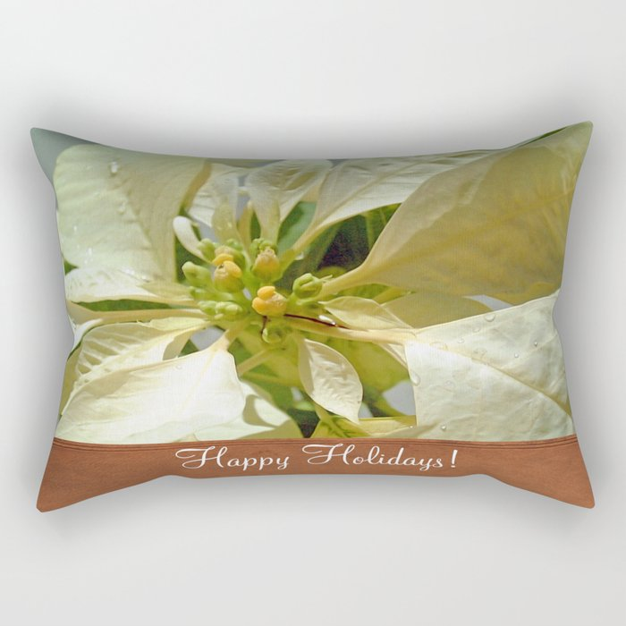 Pale Yellow Poinsettia 1 Happy Holidays S1F1 Rectangular Pillow