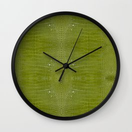 Lime Green Alligator Leather Print  Wall Clock