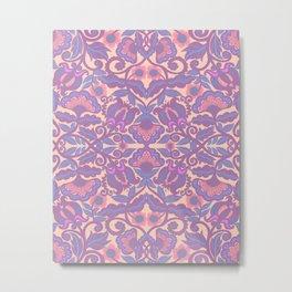 Purple Vines Folk Art Flower Pattern Metal Print