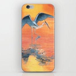 Blue Heron dance iPhone Skin