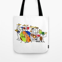 drums Tote Bags featuring EPIC DRUMS by OUTSIDE VOICE