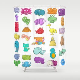 Furrry Monsters Shower Curtain