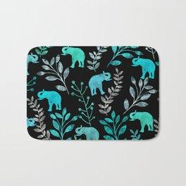 Watercolor Flowers & Elephants IV Bath Mat