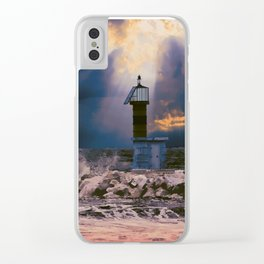 Light House in storm Clear iPhone Case