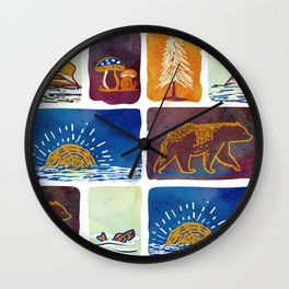 Outdoor Trip Watercolor Wall Clock