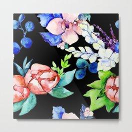 Contemporary, Chic, Floral Bouquet Watercolor Print Metal Print