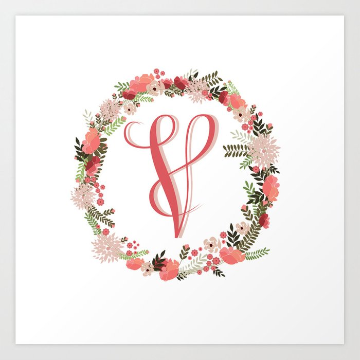 Personal monogram letter v flower wreath art print by bettysue personal monogram letter v flower wreath thecheapjerseys Gallery