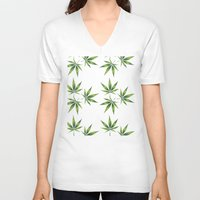 marijuana V-neck T-shirts featuring Marijuana Leaves  by Limitless Design