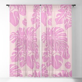 Pink Monstera Linoprint Sheer Curtain