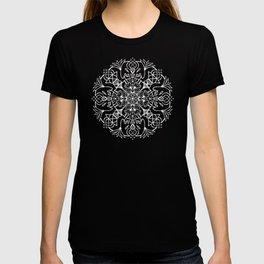 Lotus Mandala - White on Navy T-shirt