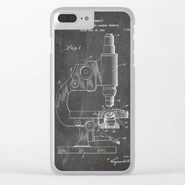 Microscope Patent - Scientist Art - Black Chalkboard Clear iPhone Case