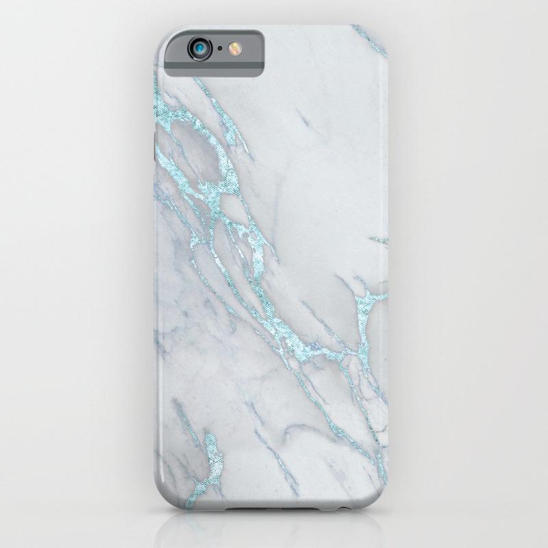 19f0999f8b2b0 Marble Love Sea Blue Metallic iPhone Case by naturemagick | Society6