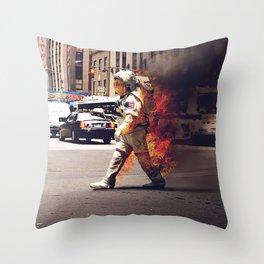 burning astronaut Throw Pillow