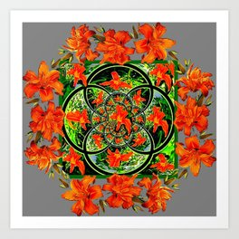 ORANGE DAYLILIES GREEN GARDEN GREY GEOMETRIC Art Print