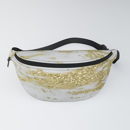 Marble - Glittery Gold Marble on White Design Fanny Pack