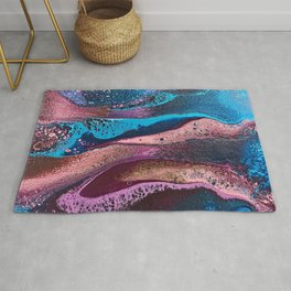 Psychedelic pink and turquoise lacing Rug