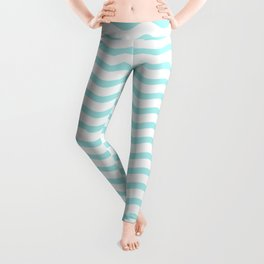 Pale Turquoise And White Chevron Waves Leggings
