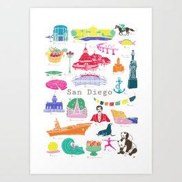 San Diego A to Z City Art Print