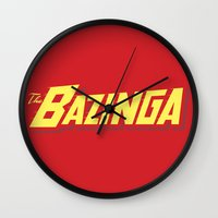 bazinga Wall Clocks featuring The Bazinga by thom2maro