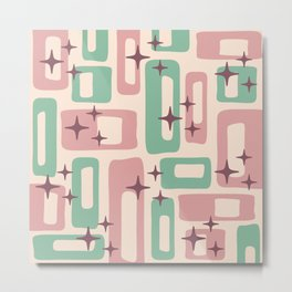 Retro Mid Century Modern Abstract Pattern 222 Dusty Rose and Pastel Green Metal Print