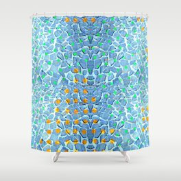 Street Floor Tiles Feeling Turquoise Tiger-Polka Dot...ish! Shower Curtain