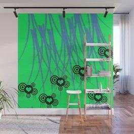 Green Teal Slasher Hearts  Wall Mural