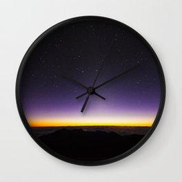 Haleakala Sunrise with Night Stars Wall Clock