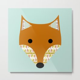 Fox on aqua background Metal Print