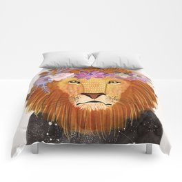 Lion with flowers on head Comforters