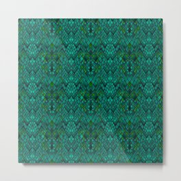 Abstract and imitation crocodile skin texture turquoise color . Metal Print