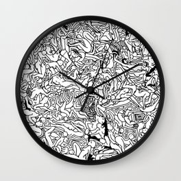 Lots of Bodies Doodle in Black and White Wall Clock