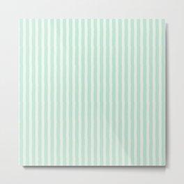 Streaky Hand-Brushed Aqua Bluebell Vertical Stripes Metal Print