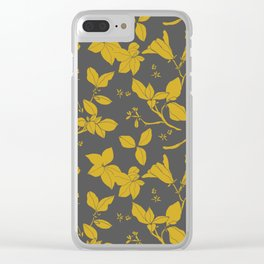 Drawings from Stonecrop Garden, Pattern in Gold & Grey Clear iPhone Case