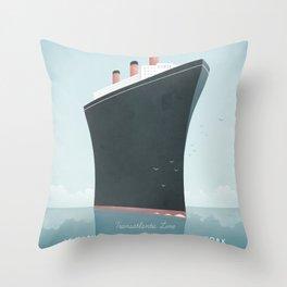 Vintage Travel Poster - Cruise Ship Throw Pillow