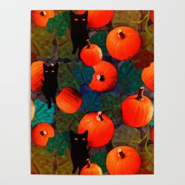 Pumpkins and Black Cats Poster