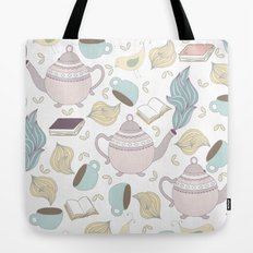 Pastel Tea + Books Pattern Tote Bag