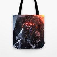 titan Tote Bags featuring Shadow Titan by Benedick Bana
