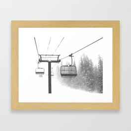 Chairlift Abyss // Black and White Chair Lift Ride to the Top Colorado Mountain Artwork Framed Art Print