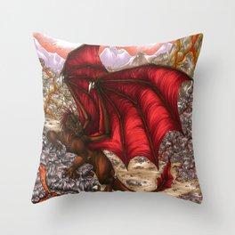 Volcano Dragon Throw Pillow