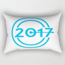 2017 Blue Date Clock Rectangular Pillow
