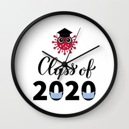 Class of 2020 funny illustration with cute cartoon virus, graduation hat and protective mask.  Wall Clock