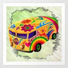 The Flower Power Mini Bus Art Print