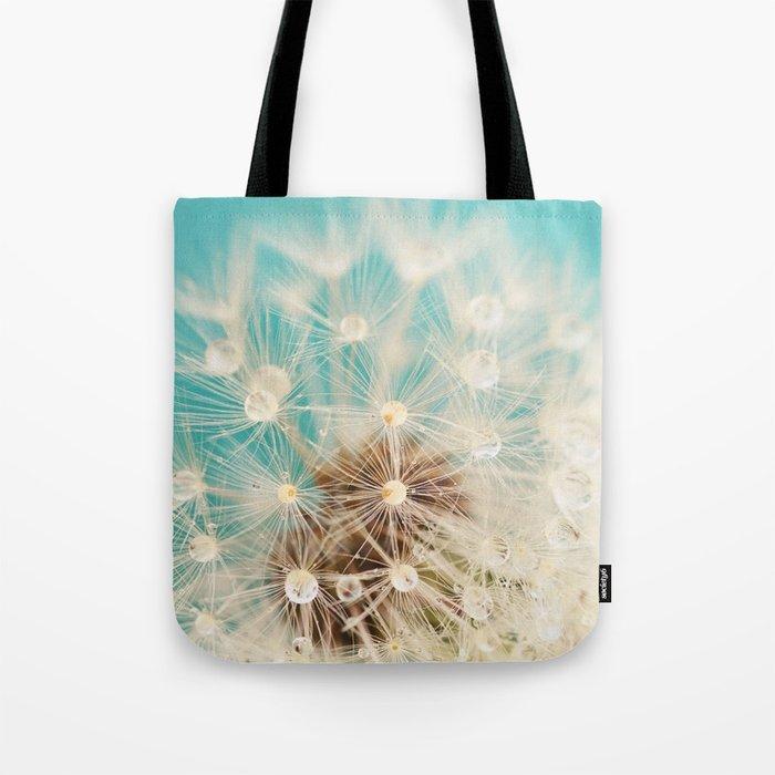 dandelion with waterdrops Tote Bag