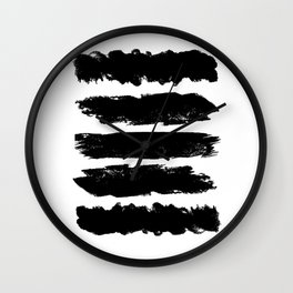 Black & White Abstract Paint Lines Print Wall Clock