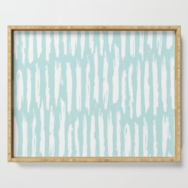 Vertical Dash Stripes White on Succulent Blue Serving Tray