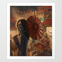 Downtown Oniopolis Market Art Print