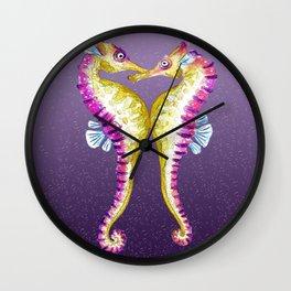 Seahorse Kiss Purple Wall Clock