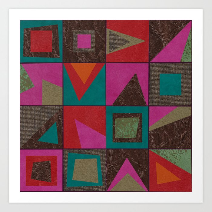 squares of colors and shreds Art Print