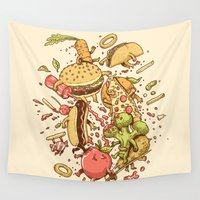 food Wall Tapestries featuring Food Fight by Alex Solis