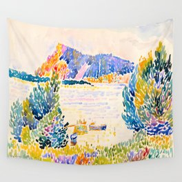 Henri-Edmond Cross Neo-Impressionism Pointillism Cap Nègre 1909 WatercolorPainting Wall Tapestry